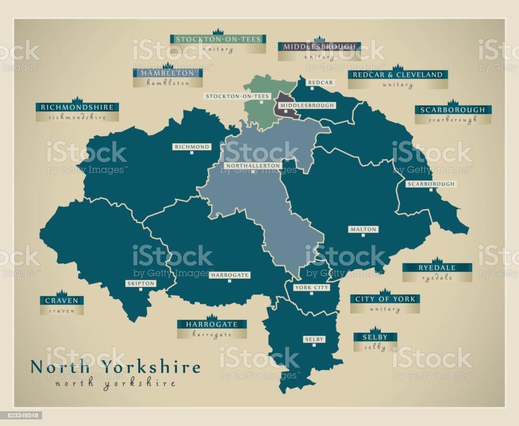 Modern Map - North Yorkshire county with labels England UK illustration vector art illustration
