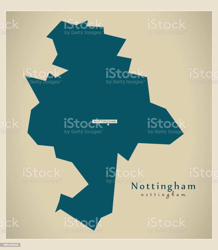 Modern Map - Nottingham unitary authority England UK vector art illustration