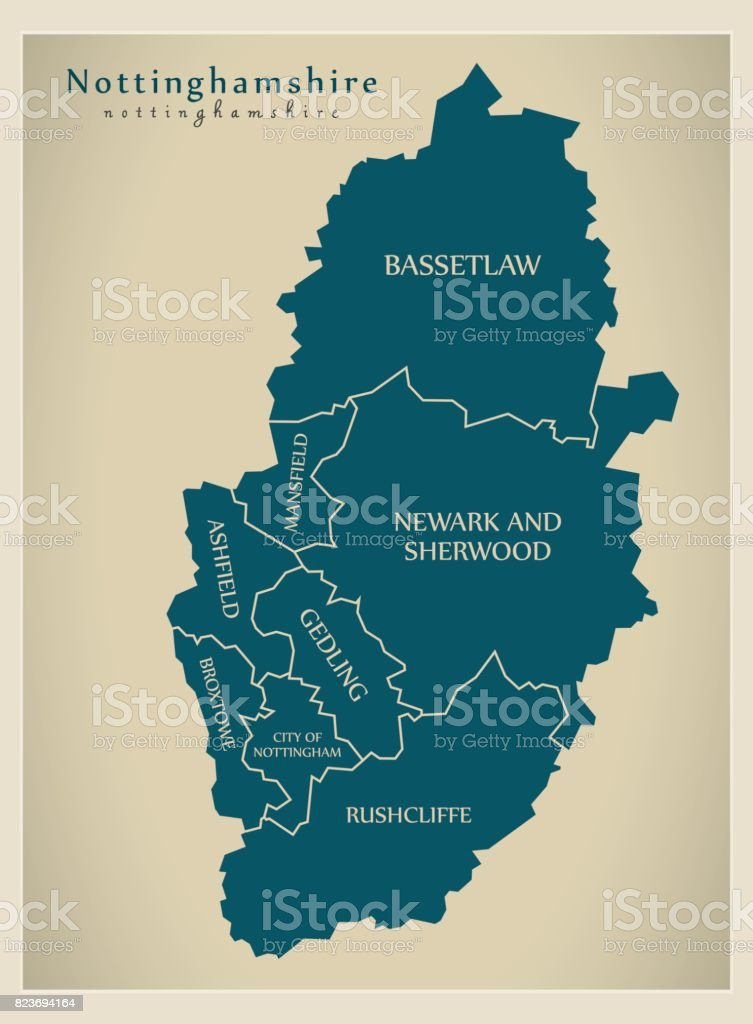 Modern Map - Nottinghamshire county with district captions England UK illustration vector art illustration