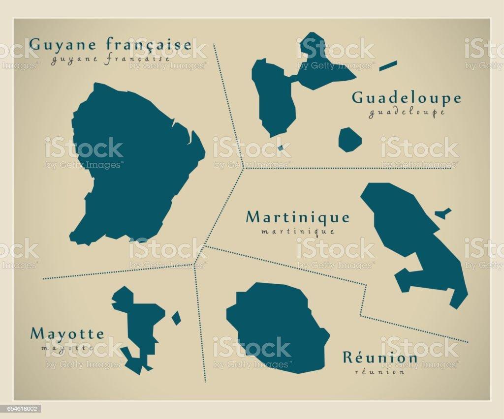 Modern Map - Overseas Departements FR vector art illustration