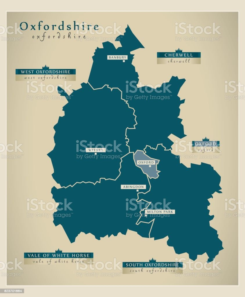 Modern Map - Oxfordshire county with district labels England UK illustration vector art illustration