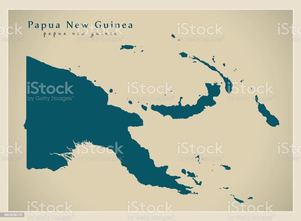 Modern Map - Papua New Guinea PG vector art illustration
