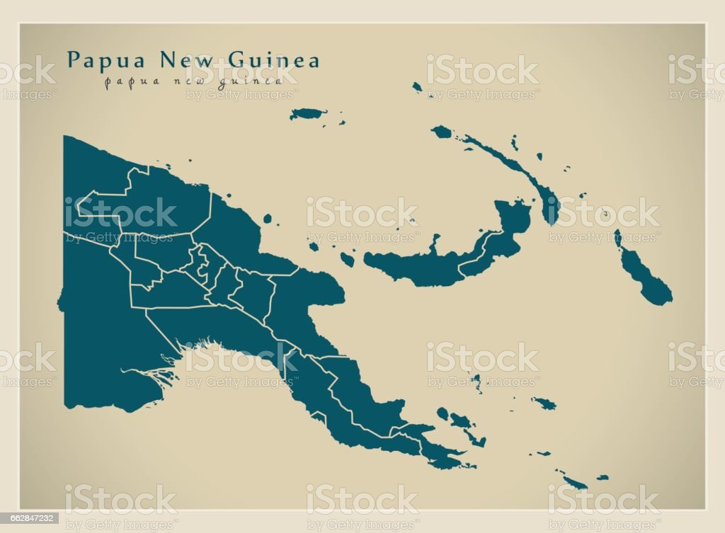 Modern Map - Papua New Guinea with provinces PG vector art illustration