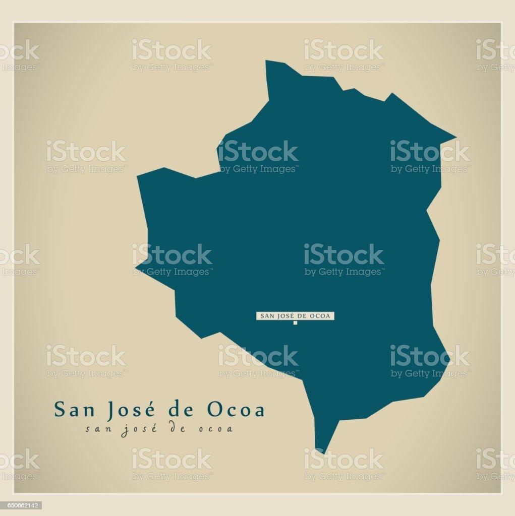 Modern Map San Jose De Ocoa Do Illustration Silhouette Stock - Map of usa showing san jose