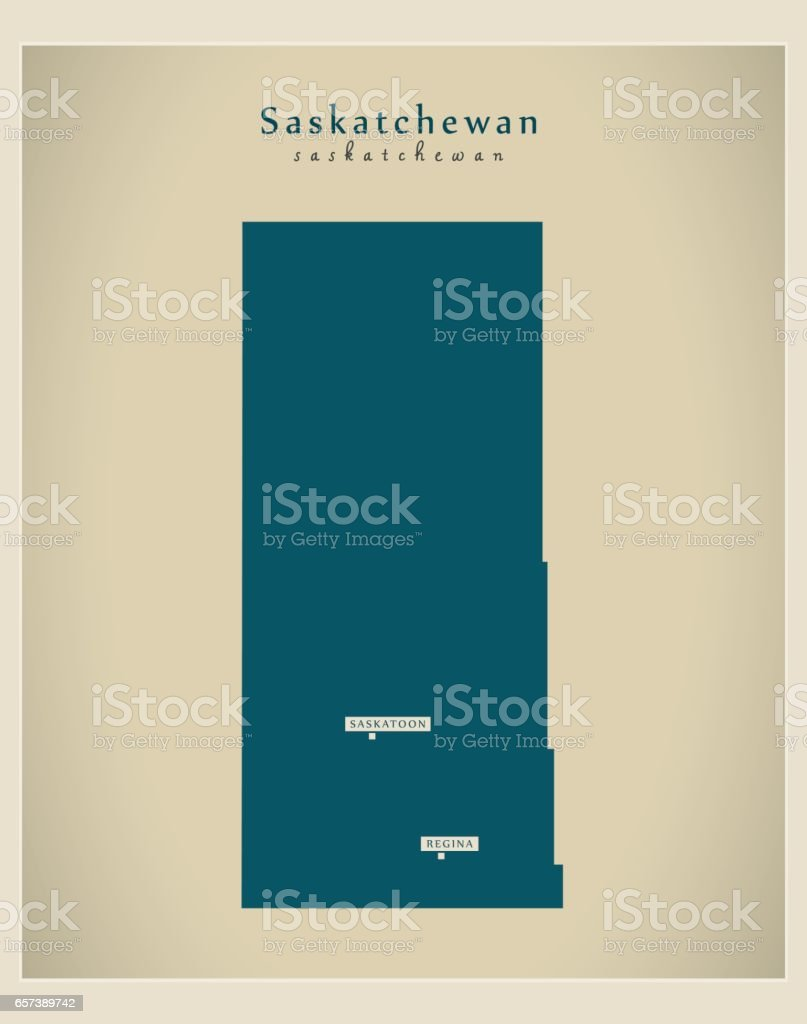 Modern Map - Saskatchewan CA vector art illustration