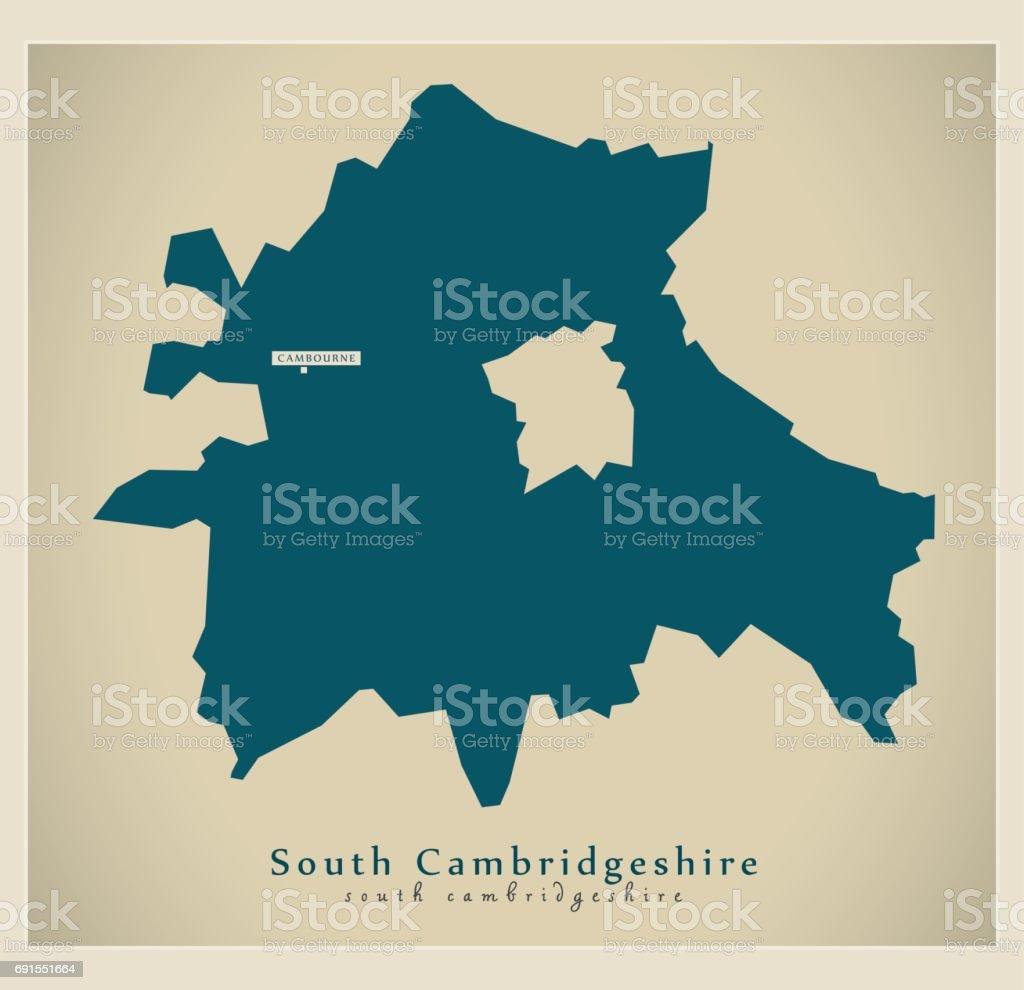 Modern Map - South Cambridgeshire district UK vector art illustration