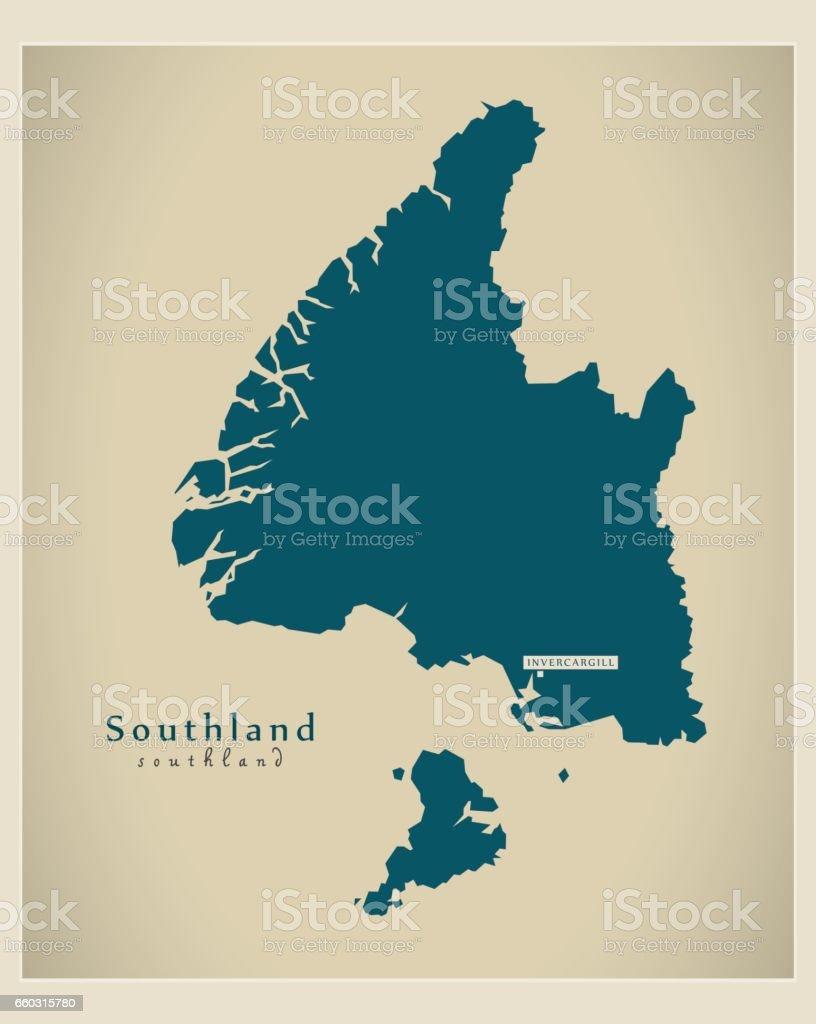 Modern Map - Southland NZ vector art illustration