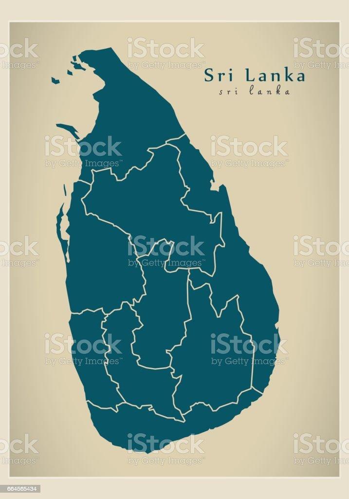 Modern Map - Sri Lanka with provinces LK vector art illustration
