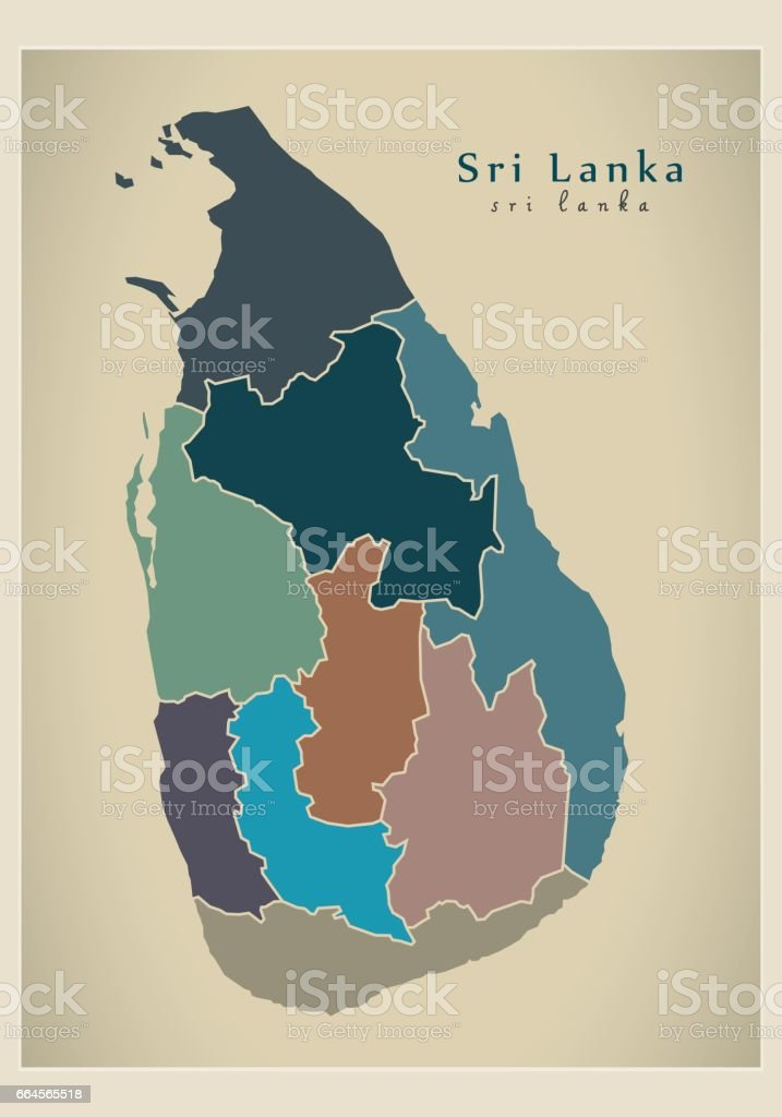 Modern Map - Sri Lanka with provinces political LK vector art illustration