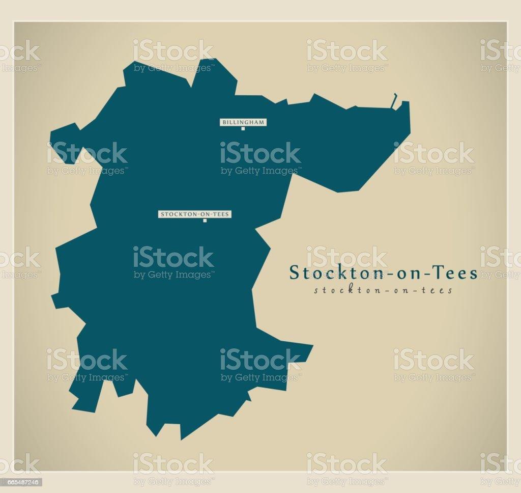 Modern Map - Stockton-on-Tees unitary authority England UK vector art illustration