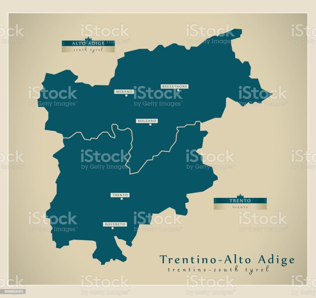 Modern Map - Trentino-Alto Adige IT vector art illustration