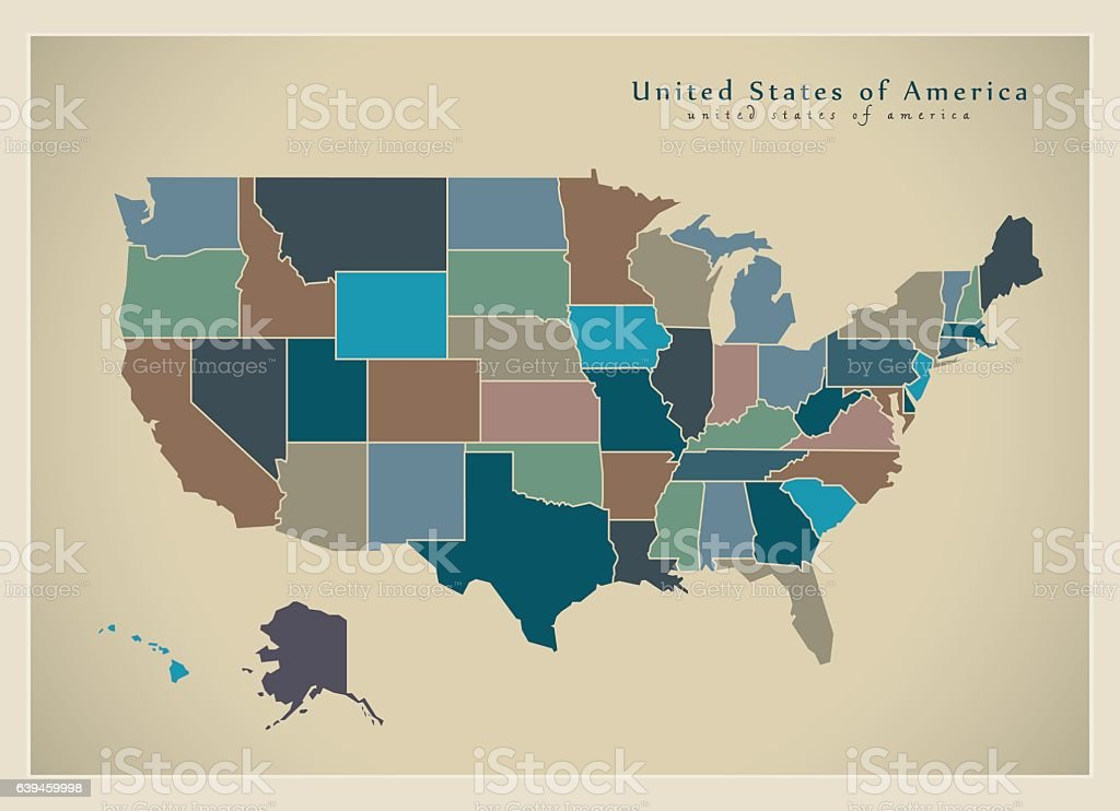 Modern Map - USA with coloured federal states illustration vector art illustration