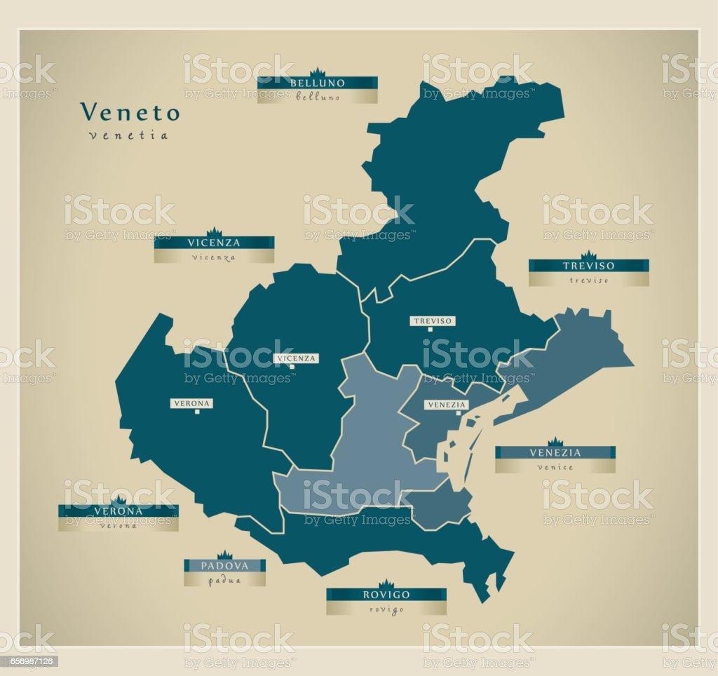 Modern Map - Veneto IT vector art illustration