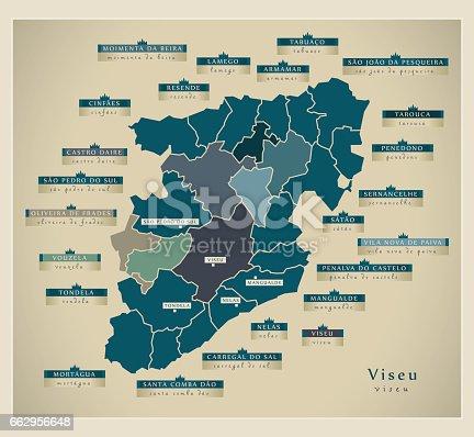 Modern Map Viseu Pt Stock Vector Art IStock - Portugal map viseu