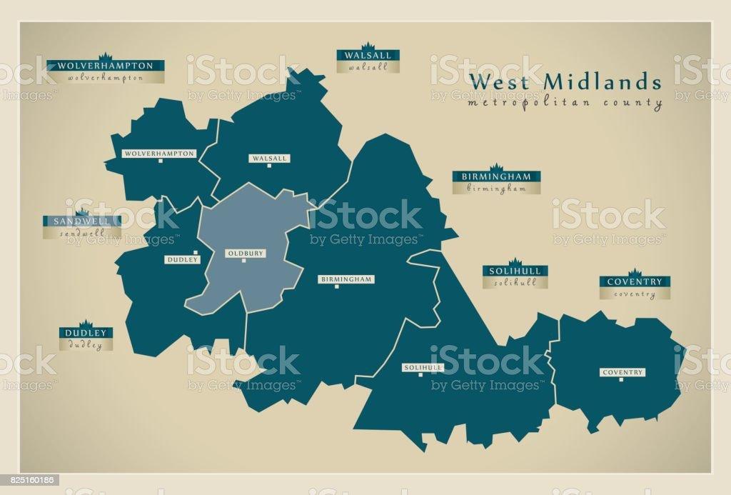 Modern Map - West Midlands metropolitan county with district labels England UK vector art illustration