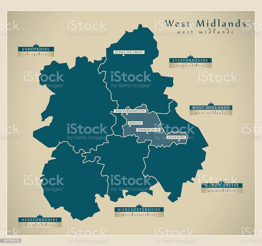Modern Map - West Midlands UK vector art illustration