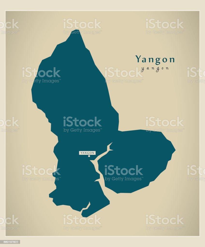 Modern Map - Yangon MM vector art illustration