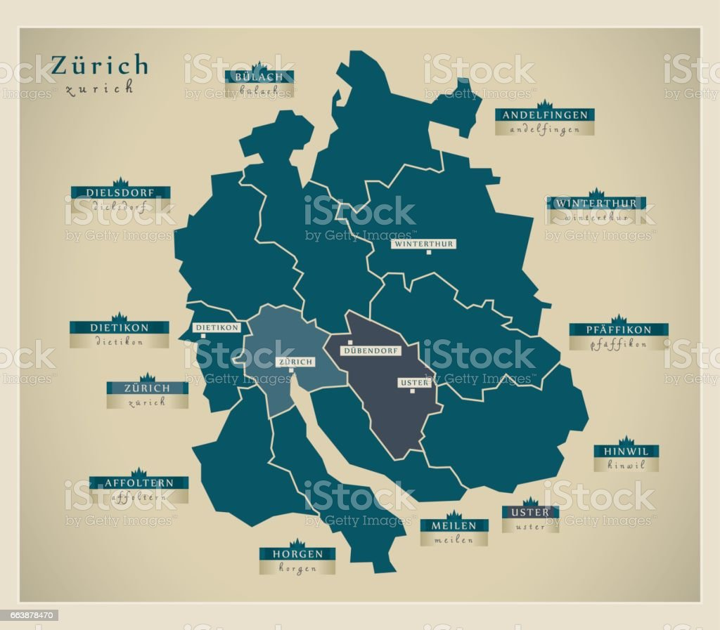 Modern Map Zurich Ch Stock Vector Art IStock - What is ch on a us map