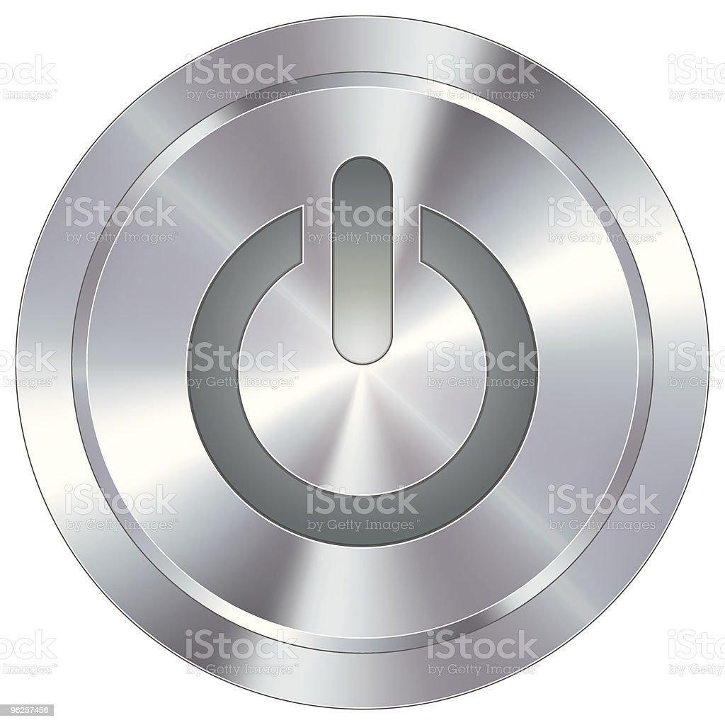 Modern metal power button royalty-free stock vector art