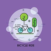Modern minimal flat thin line bicycle ride concept vector illustration.