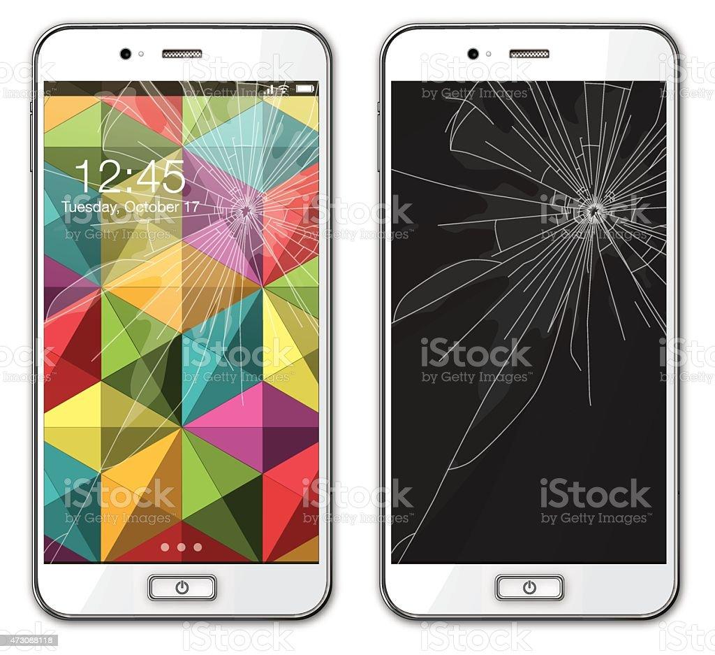 Modern mobile phone with broken glass - Illustration vector art illustration