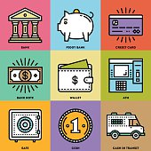 Modern Money and Banking Color Icon Set.