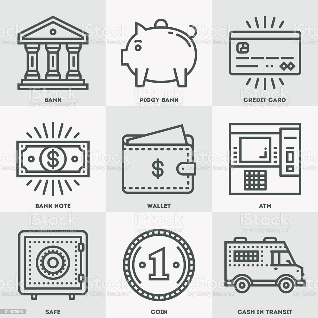 Modern Money and Banking Icon Set. vector art illustration