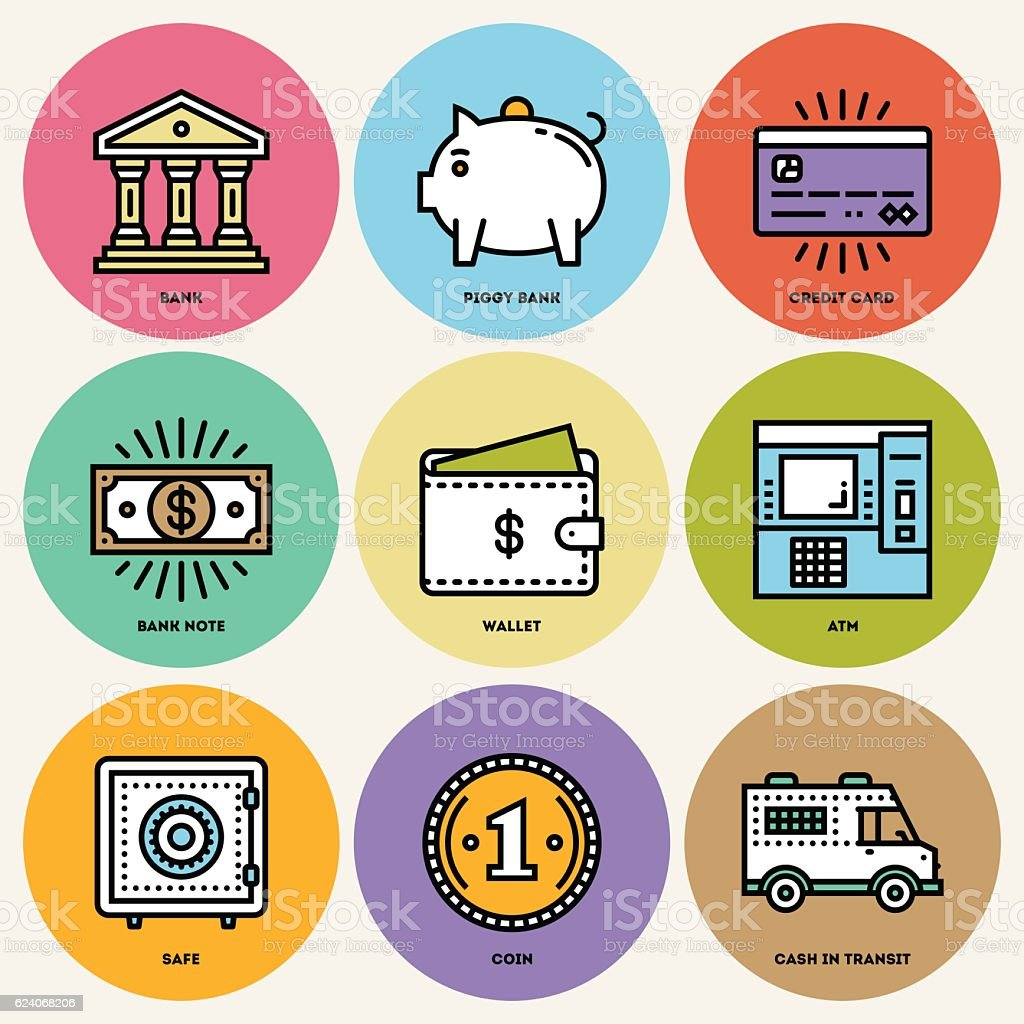Modern Money and Banking Round Icon Set. vector art illustration