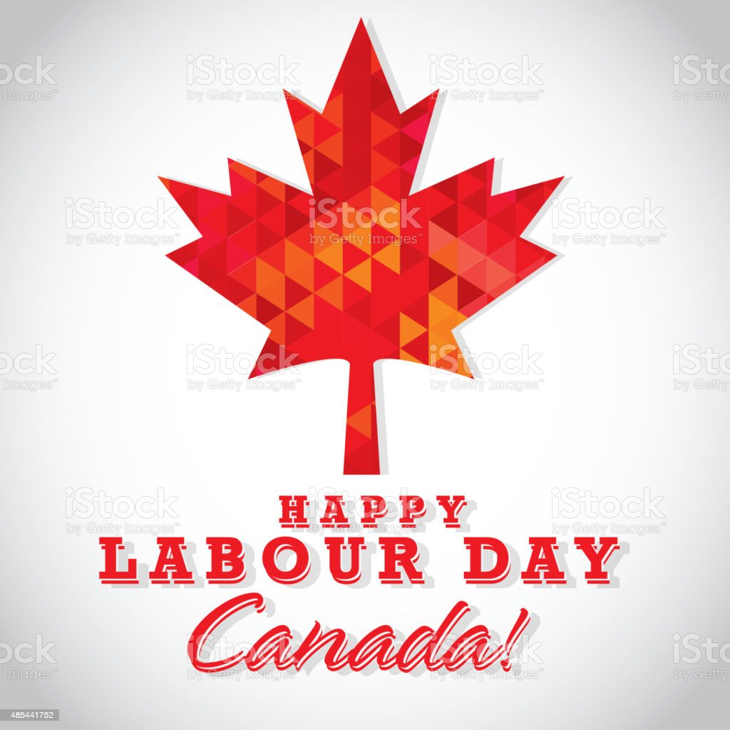 Modern mosaic Happy Canada Labour Day greeting template design vector art illustration