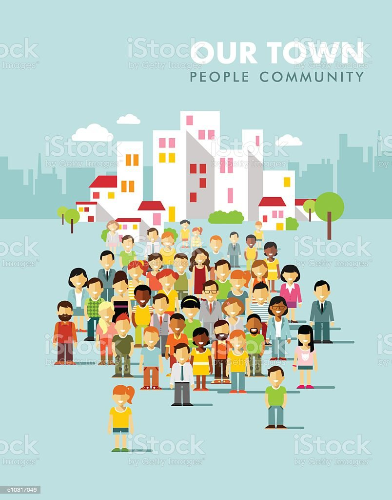 Modern multicultural society concept with city people in flat style vector art illustration