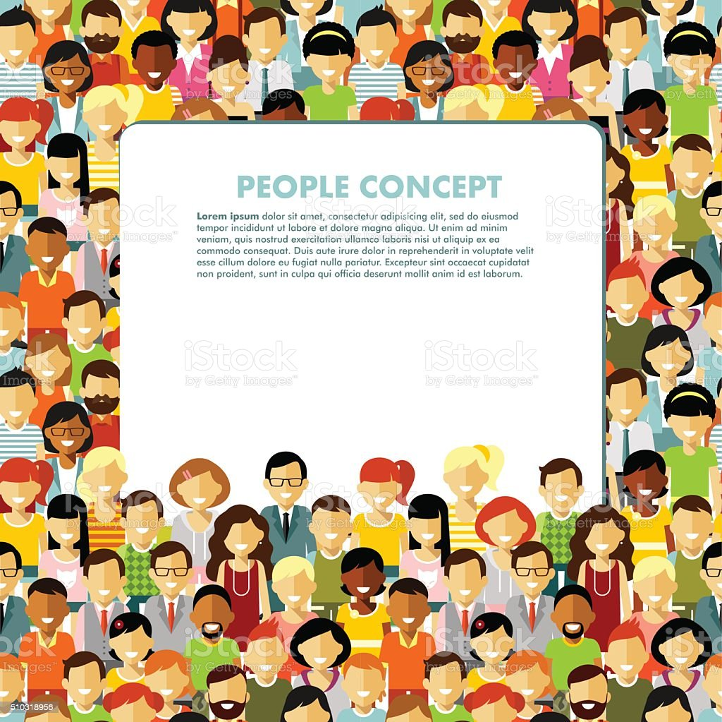 Modern multicultural society concept with seamless people background vector art illustration