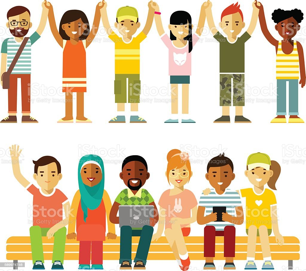 Modern multicultural society friendship concept with people in flat style vector art illustration