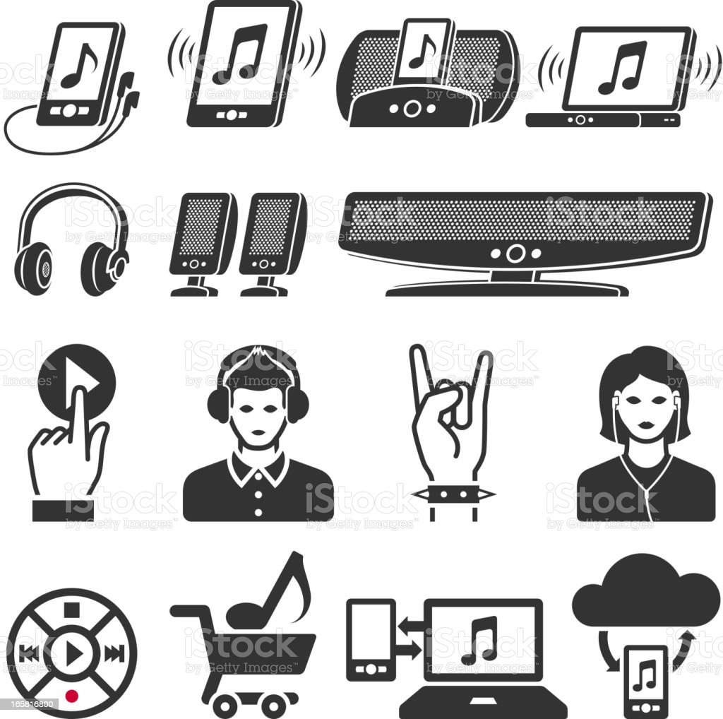 Modern music industry black and white vector icon set royalty-free stock vector art