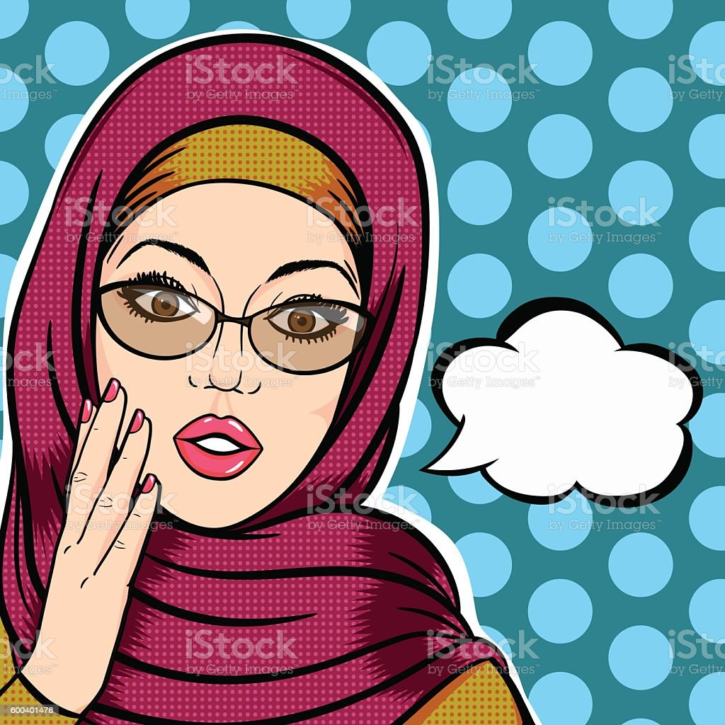 Modern muslim woman in hijab shocked face with thought bubble vector art illustration