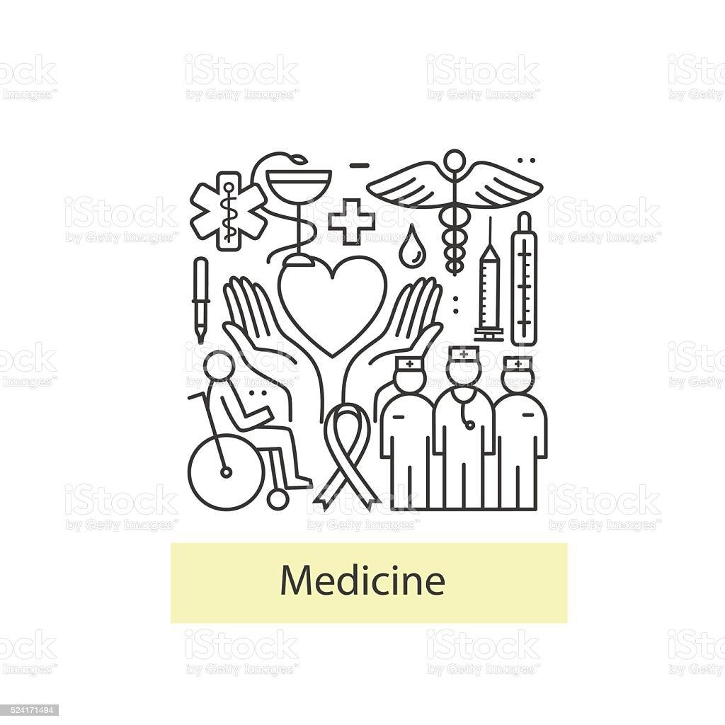 Modern of thin linear concept on a theme medicine. vector art illustration