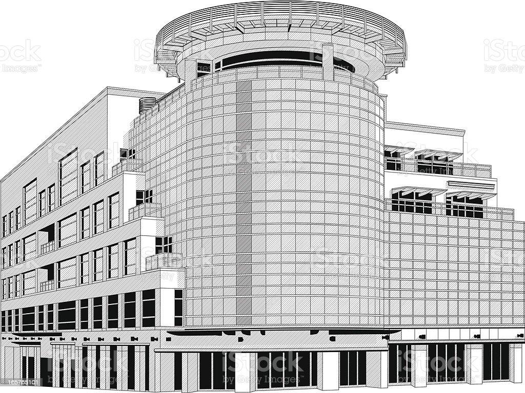 Modern office building illustration royalty-free stock vector art
