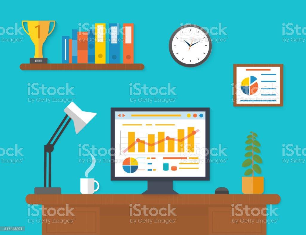Modern office interior with seo desktop vector art illustration