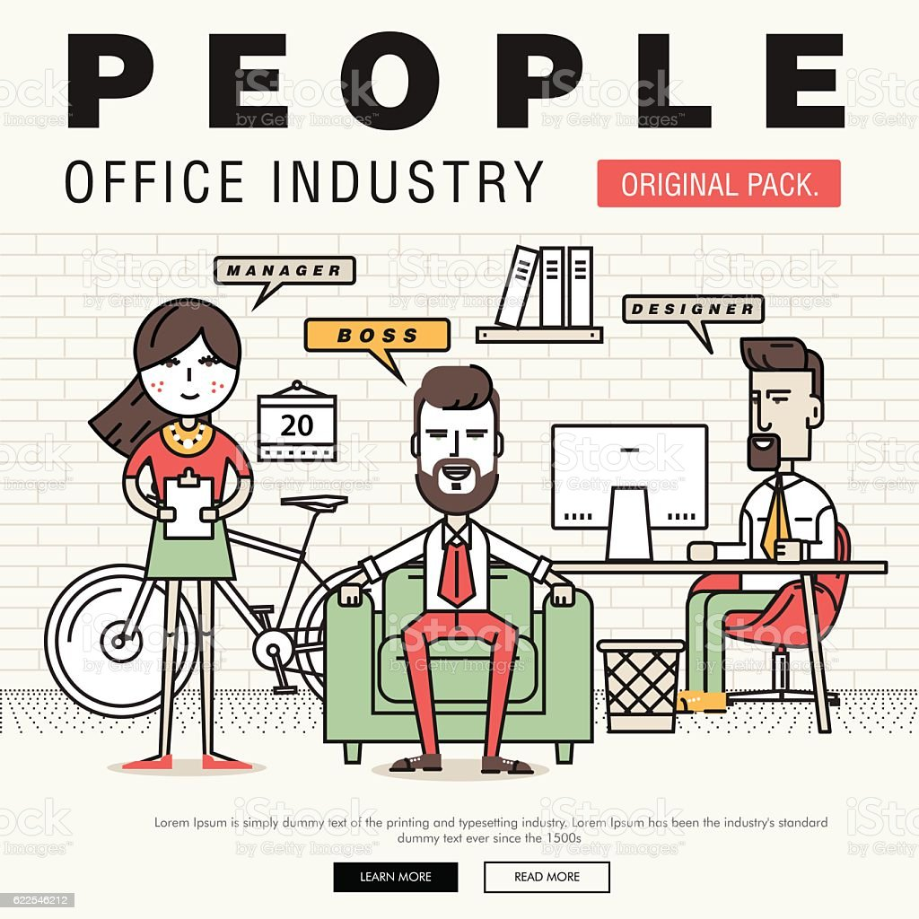 Modern office people industry. Thin line business day concept. vector art illustration