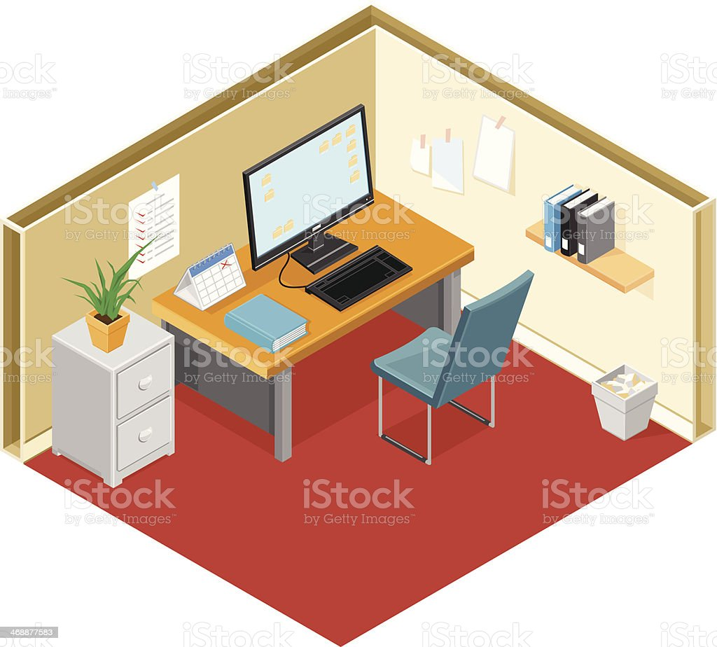 Modern Office with Desk and Computer vector art illustration