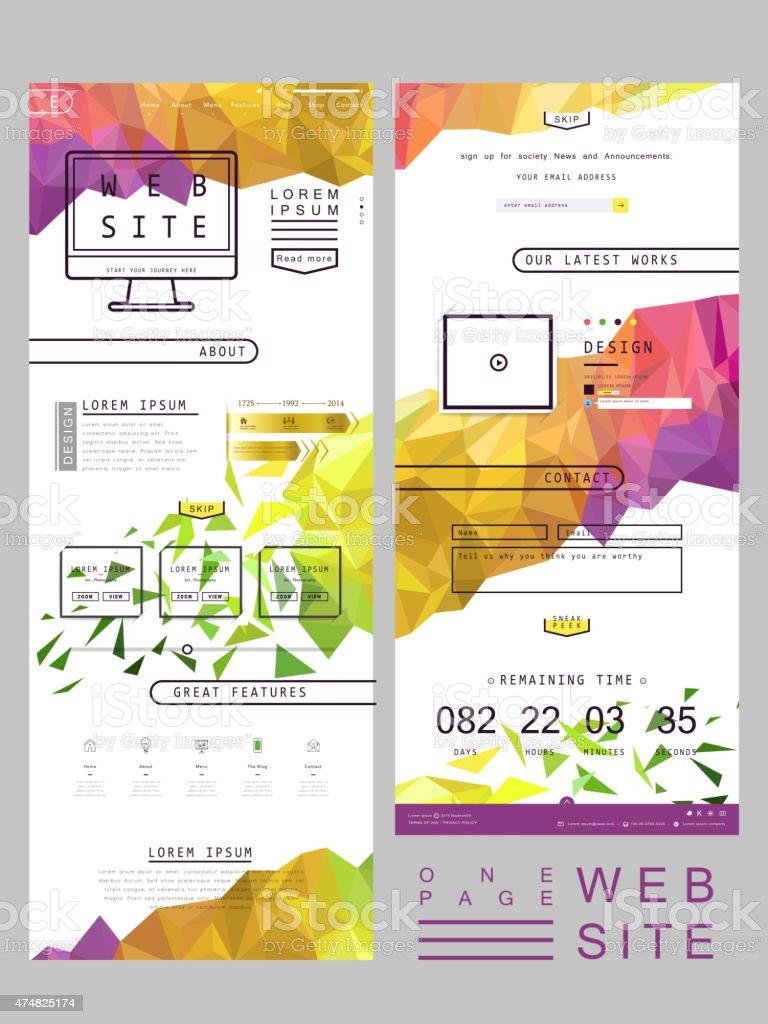 modern one page website template design vector art illustration