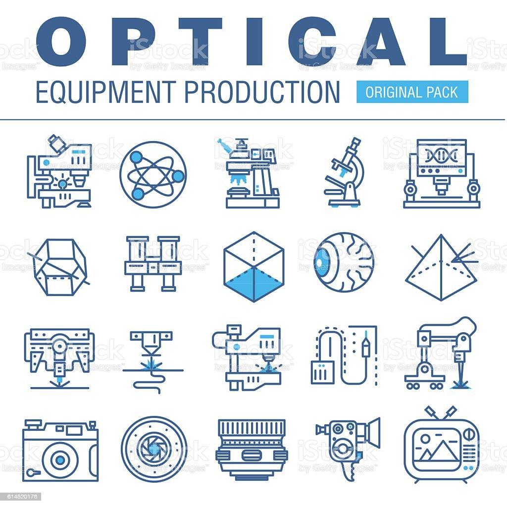 Modern optical development flat industry. Thin line laboratory m vector art illustration