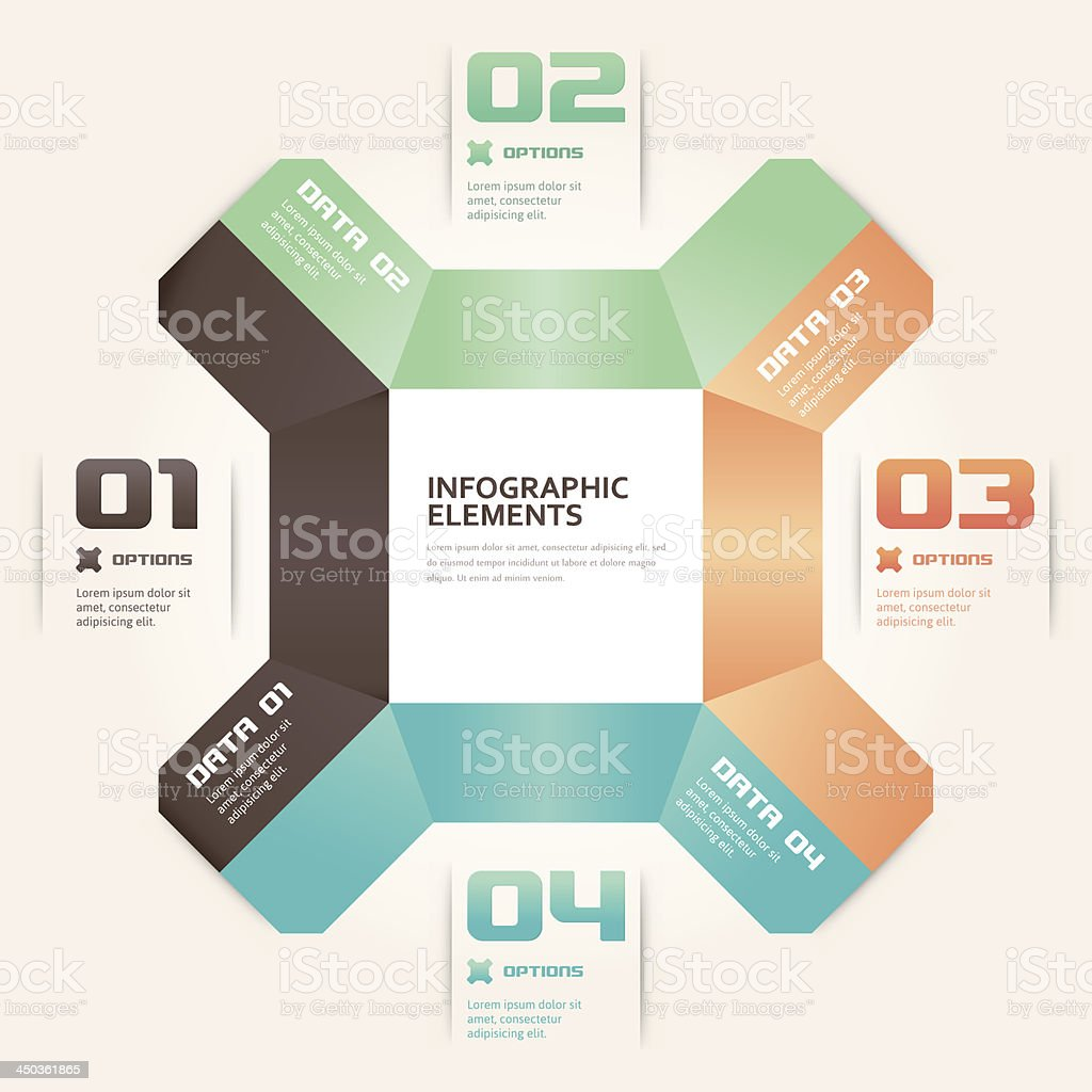 Modern Origami Style Number Options Infographics Banner royalty-free stock vector art