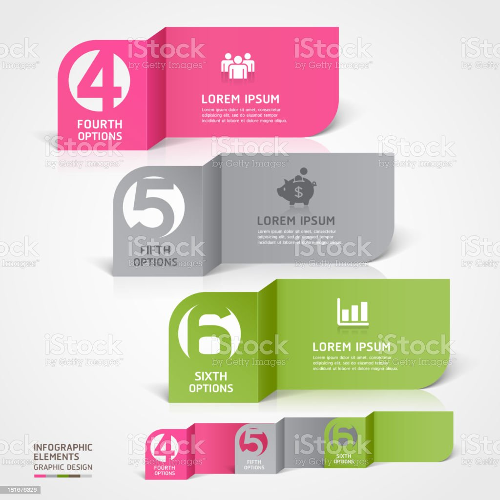 Modern papercut infographic number templates royalty-free stock vector art