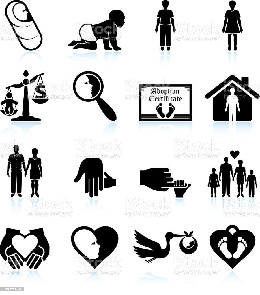 modern parenting and adoption black & white vector icon set stock photo