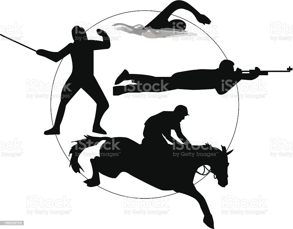 Modern pentathlon vector art illustration