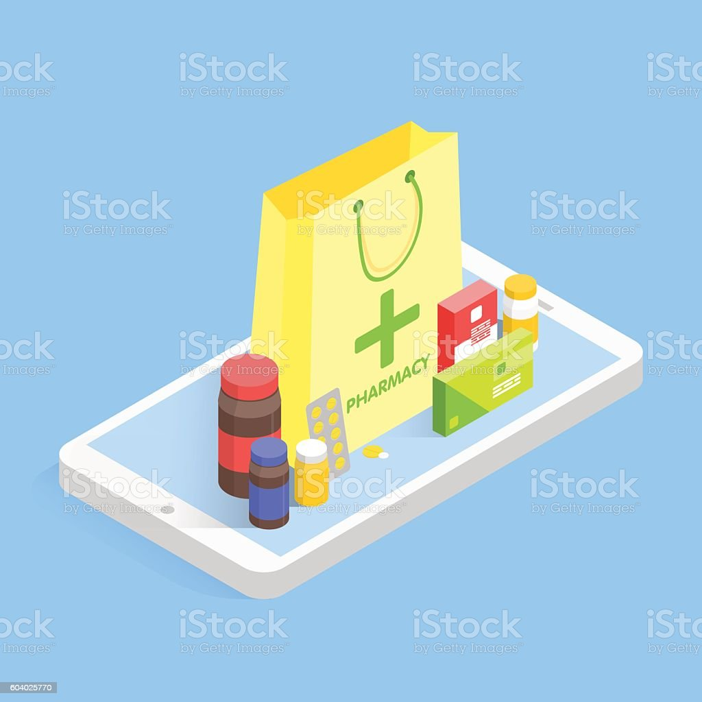 Modern pharmacy and drugstore concept. Isometric phone sale drugs online. vector art illustration