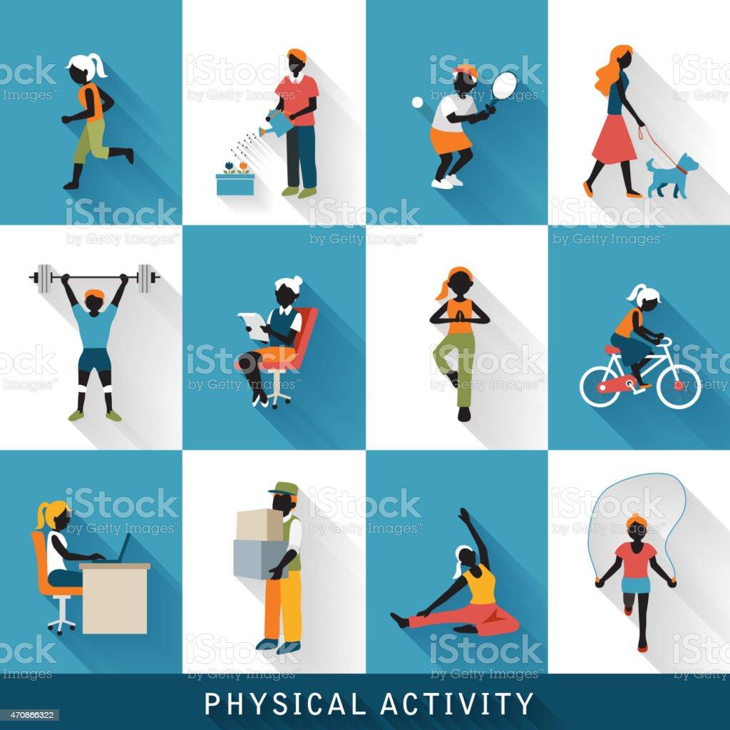 modern physical activity icons set vector art illustration