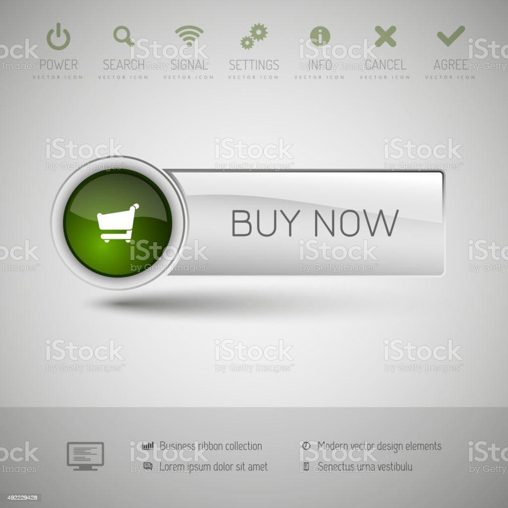 Modern plastic vector button. vector art illustration
