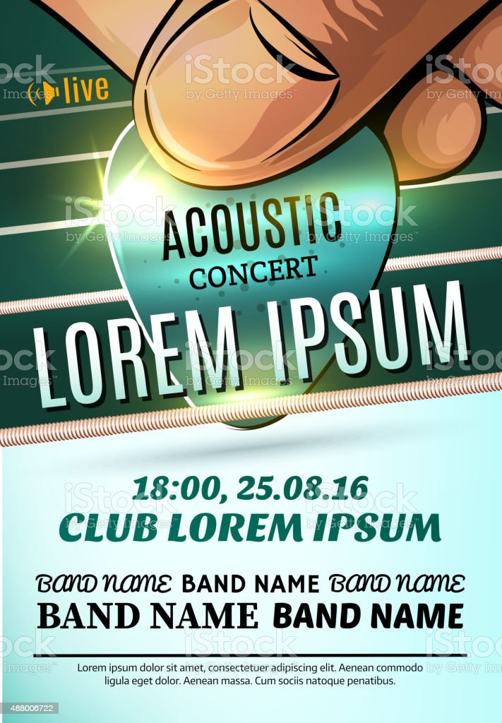Modern poster for a acoustic concert or a rock festival vector art illustration