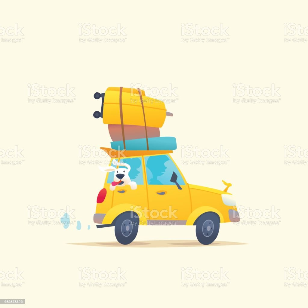 Modern poster with a summer car for travel with Luggage vector art illustration